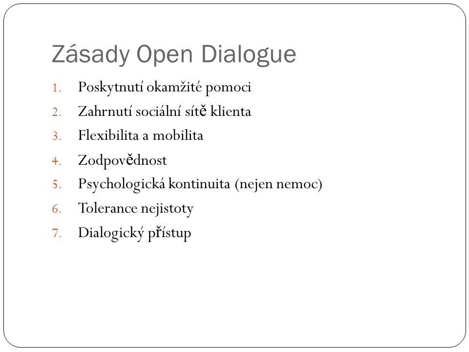 Zásady Open Dialogue 1. Poskytnutí okamžité pomoci 2.