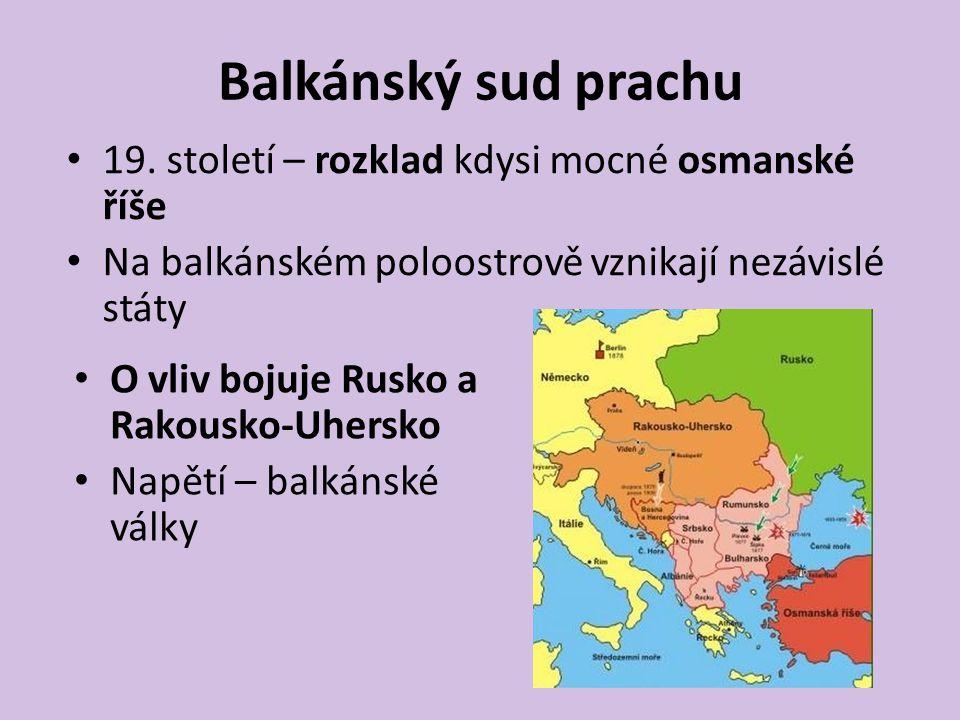 Balkánský sud prachu Rakousko-Uhesko – od roku 1878 připojena Bosna a Hercegovina Srbsko – touha vytvořit království všech Jihoslovanů – tedy i BaH Ostrá protirakouská propaganda – prosrbské nacionální tajné organizace