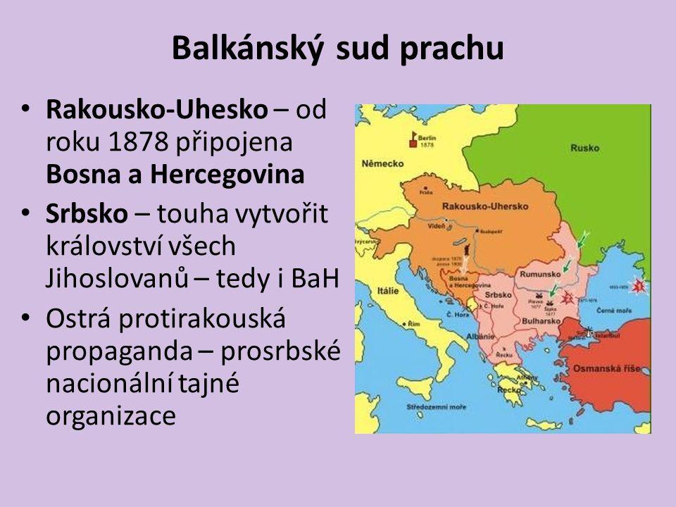 Balkánský sud prachu Rakousko-Uhesko – od roku 1878 připojena Bosna a Hercegovina Srbsko – touha vytvořit království všech Jihoslovanů – tedy i BaH Os