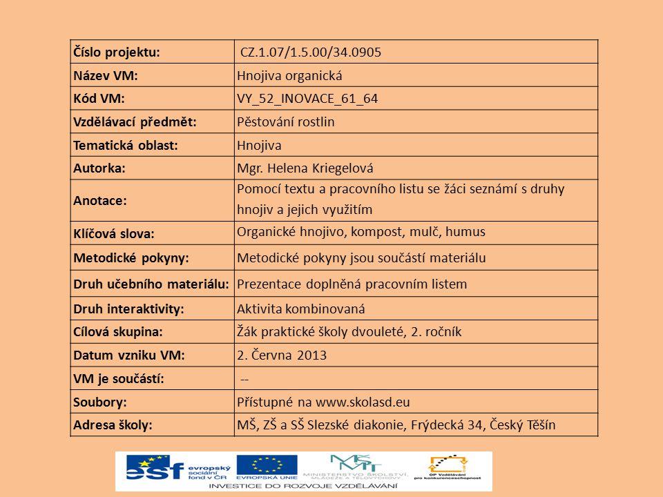 Číslo projektu: CZ.1.07/1.5.00/34.0905 Název VM:Hnojiva organická Kód VM:VY_52_INOVACE_61_64 Vzdělávací předmět:Pěstování rostlin Tematická oblast:Hno