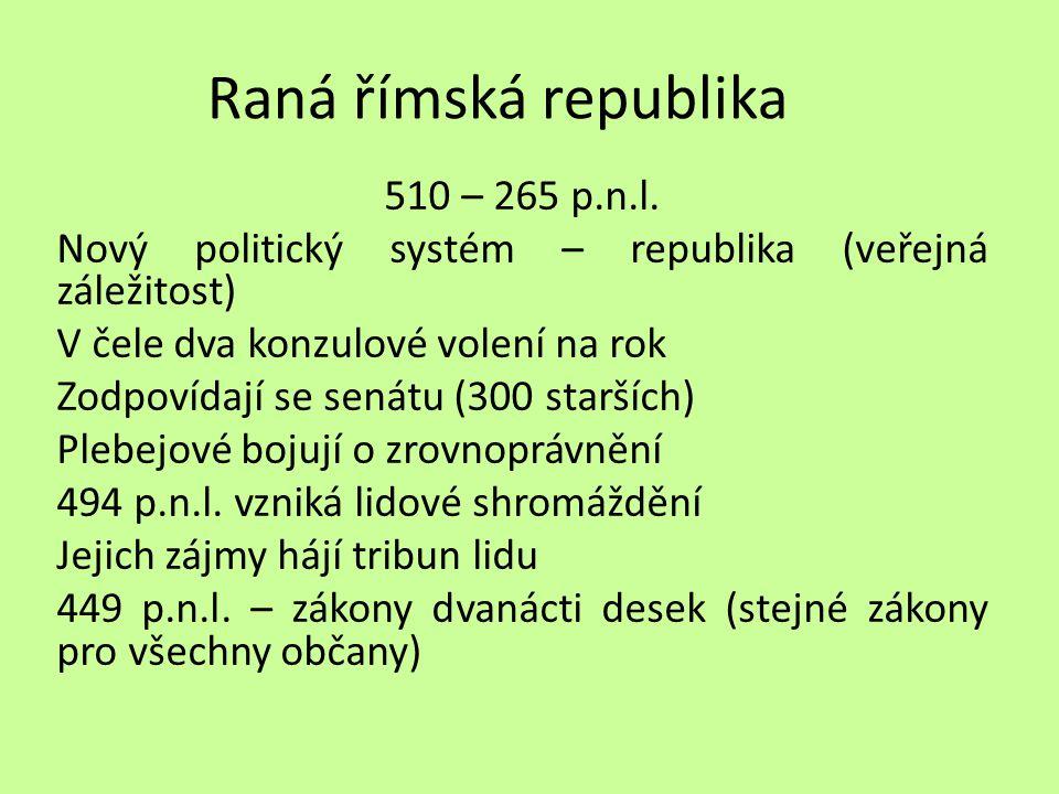 Raná římská republika 510 – 265 p.n.l.