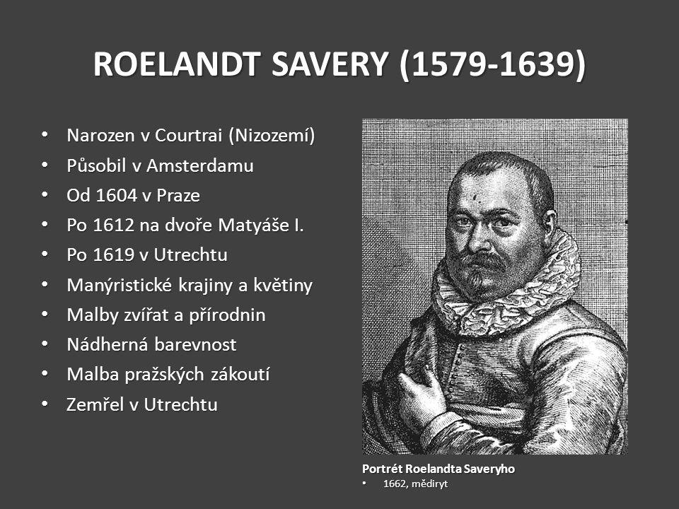 ROELANDT SAVERY (1579-1639) Narozen v Courtrai (Nizozemí) Narozen v Courtrai (Nizozemí) Působil v Amsterdamu Působil v Amsterdamu Od 1604 v Praze Od 1604 v Praze Po 1612 na dvoře Matyáše I.