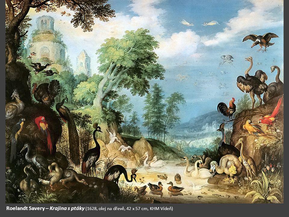 Roelandt Savery – Krajina s ptáky (1628, olej na dřevě, 42 x 57 cm, KHM Vídeň)