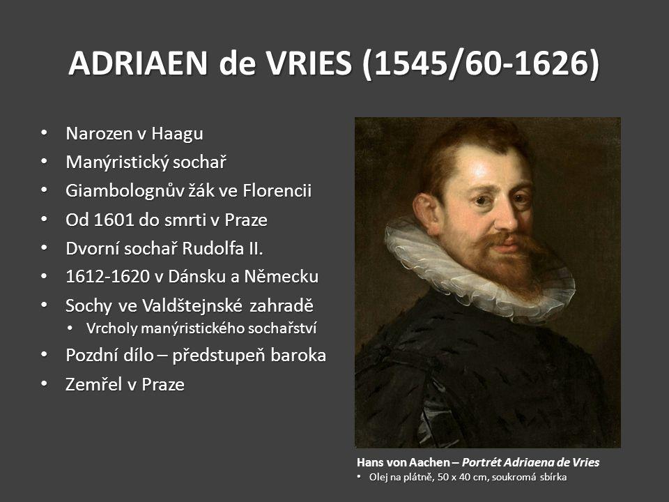 ADRIAEN de VRIES (1545/60-1626) Narozen v Haagu Narozen v Haagu Manýristický sochař Manýristický sochař Giambolognův žák ve Florencii Giambolognův žák ve Florencii Od 1601 do smrti v Praze Od 1601 do smrti v Praze Dvorní sochař Rudolfa II.