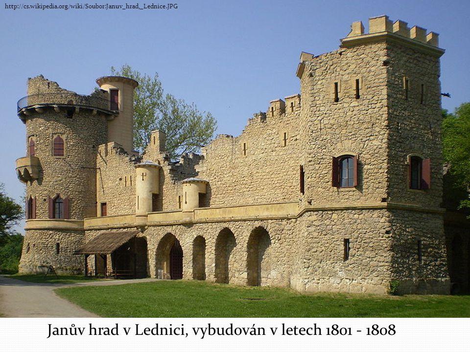 Janův hrad v Lednici, vybudován v letech 1801 - 1808 http://cs.wikipedia.org/wiki/Soubor:Januv_hrad,_Lednice.JPG