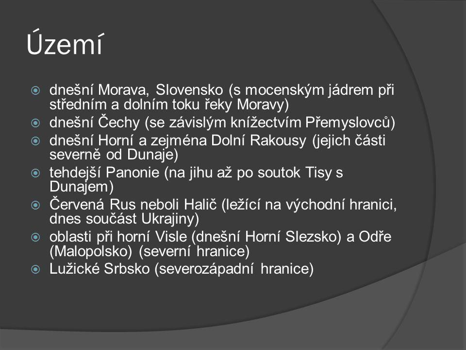 Území  dnešní Morava, Slovensko (s mocenským jádrem při středním a dolním toku řeky Moravy)  dnešní Čechy (se závislým knížectvím Přemyslovců)  dne