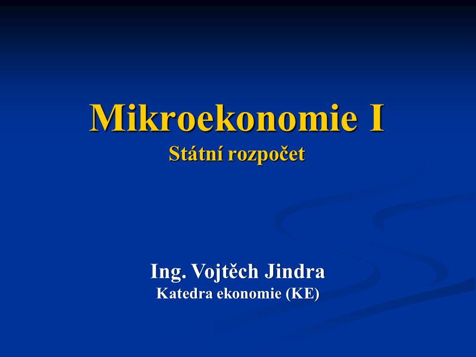 Mikroekonomie I Státní rozpočet Ing. Vojtěch JindraIng.