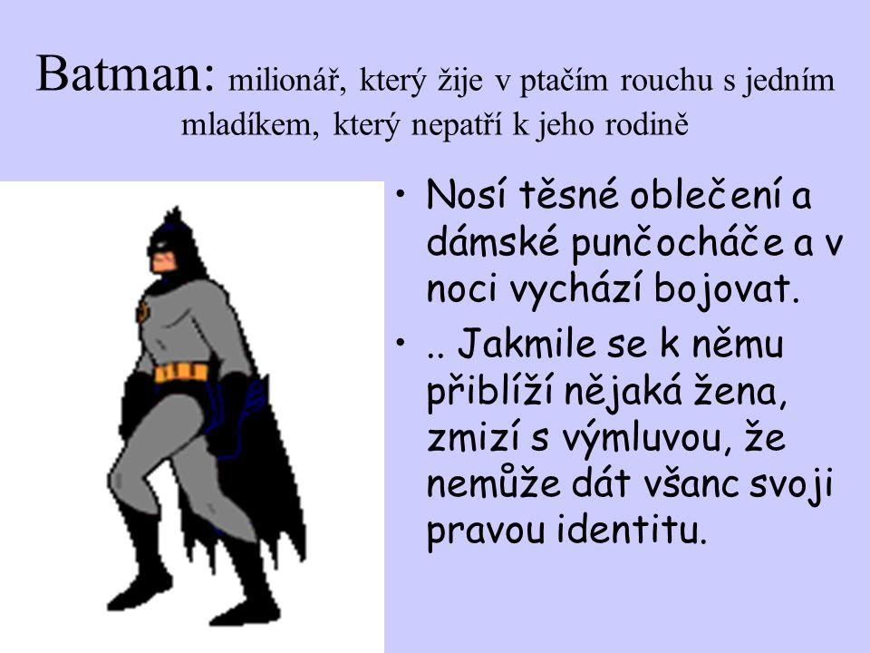 Batman: milionář, který žije v ptačím rouchu s jedním mladíkem, který nepatří k jeho rodině Nosí těsné oblečení a dámské punčocháče a v noci vychází bojovat...