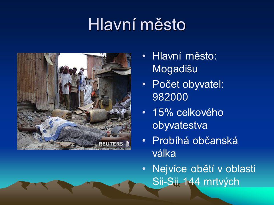 Hlavní město Hlavní město: Mogadišu Počet obyvatel: 982000 15% celkového obyvatestva Probíhá občanská válka Nejvíce obětí v oblasti Sii-Sii 144 mrtvýc