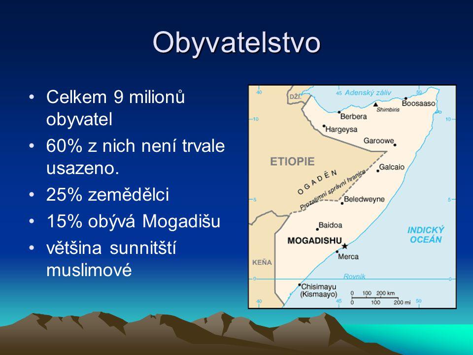 Obyvatelstvo Celkem 9 milionů obyvatel 60% z nich není trvale usazeno. 25% zemědělci 15% obývá Mogadišu většina sunnitští muslimové