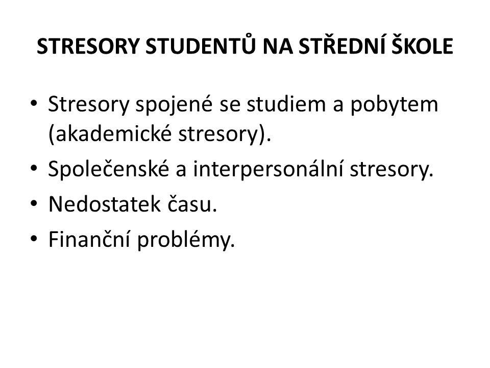 STRESORY STUDENTŮ NA STŘEDNÍ ŠKOLE Stresory spojené se studiem a pobytem (akademické stresory).