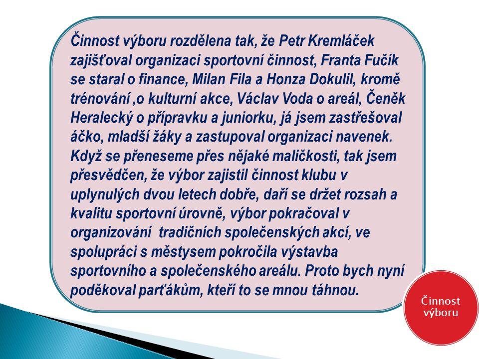 Činnost výboru rozdělena tak, že Petr Kremláček zajišťoval organizaci sportovní činnost, Franta Fučík se staral o finance, Milan Fila a Honza Dokulil,