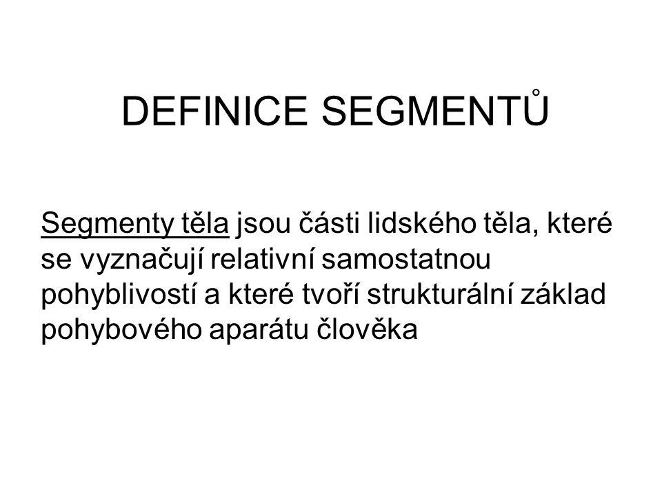 DEFINICE SEGMENTŮ Segmenty těla jsou části lidského těla, které se vyznačují relativní samostatnou pohyblivostí a které tvoří strukturální základ pohy