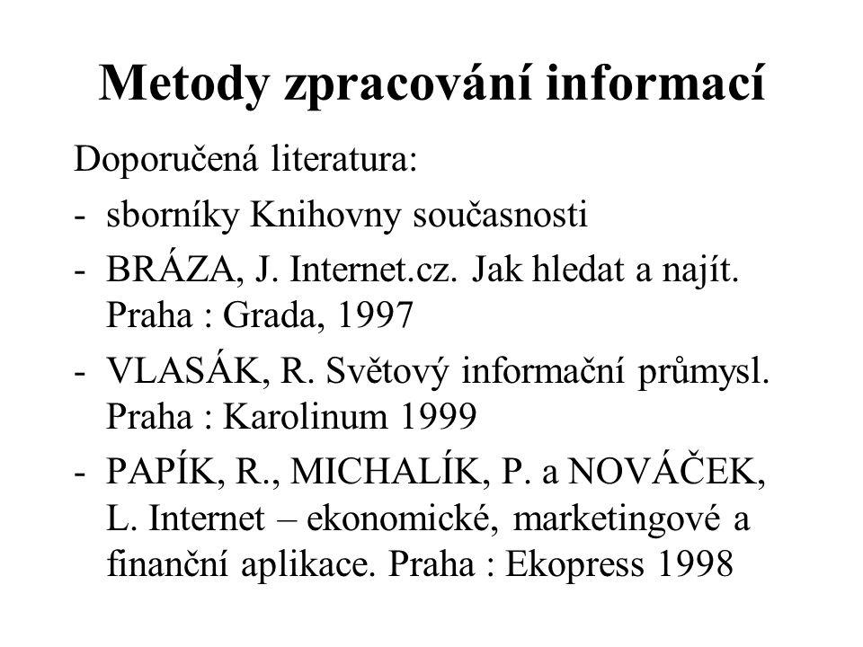 Metody zpracování informací Doporučená literatura: -sborníky Knihovny současnosti -BRÁZA, J. Internet.cz. Jak hledat a najít. Praha : Grada, 1997 -VLA