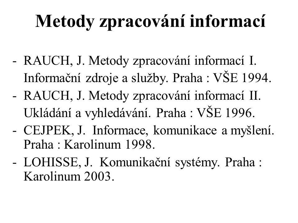 Metody zpracování informací -RAUCH, J. Metody zpracování informací I. Informační zdroje a služby. Praha : VŠE 1994. -RAUCH, J. Metody zpracování infor