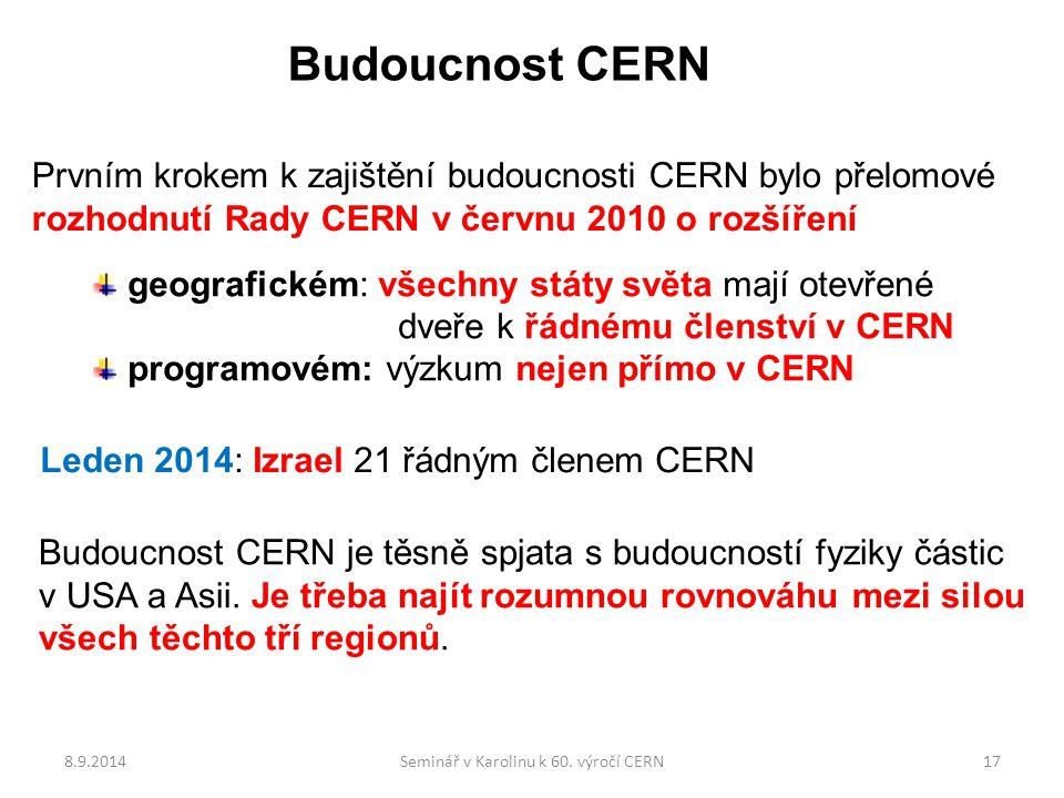 Budoucnost CERN geografickém: všechny státy světa mají otevřené dveře k řádnému členství v CERN programovém: výzkum nejen přímo v CERN Prvním krokem k zajištění budoucnosti CERN bylo přelomové rozhodnutí Rady CERN v červnu 2010 o rozšíření Leden 2014: Izrael 21 řádným členem CERN Budoucnost CERN je těsně spjata s budoucností fyziky částic v USA a Asii.