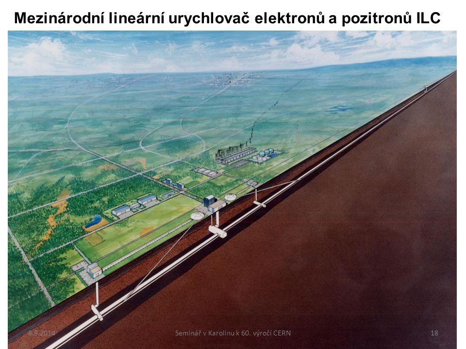 Mezinárodní lineární urychlovač elektronů a pozitronů ILC Projekt připravovaný již více než 15 let Velký zájem japonské fyzikální komunity Naděje, že projekt brzy schválí japonská vláda 8.9.201418Seminář v Karolinu k 60.