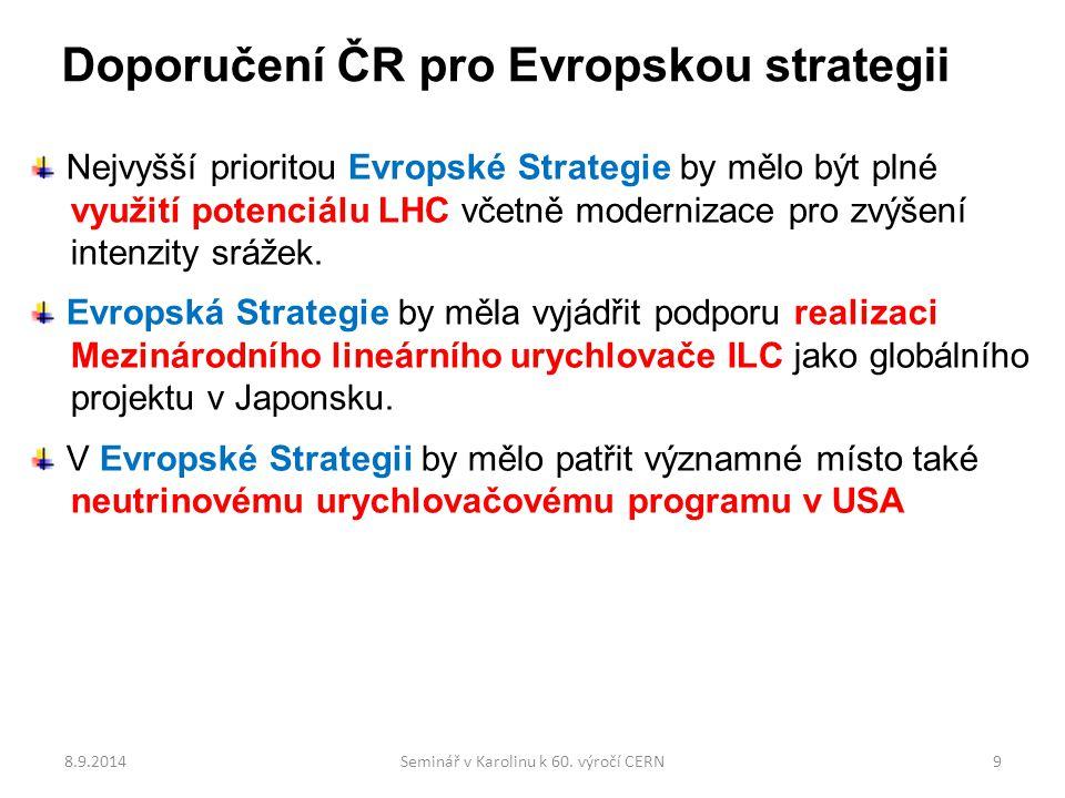 Doporučení ČR pro Evropskou strategii Nejvyšší prioritou Evropské Strategie by mělo být plné využití potenciálu LHC včetně modernizace pro zvýšení intenzity srážek.