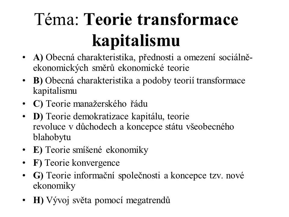 Téma: Teorie transformace kapitalismu A) Obecná charakteristika, přednosti a omezení sociálně- ekonomických směrů ekonomické teorie B) Obecná charakteristika a podoby teorií transformace kapitalismu C) Teorie manažerského řádu D) Teorie demokratizace kapitálu, teorie revoluce v důchodech a koncepce státu všeobecného blahobytu E) Teorie smíšené ekonomiky F) Teorie konvergence G) Teorie informační společnosti a koncepce tzv.