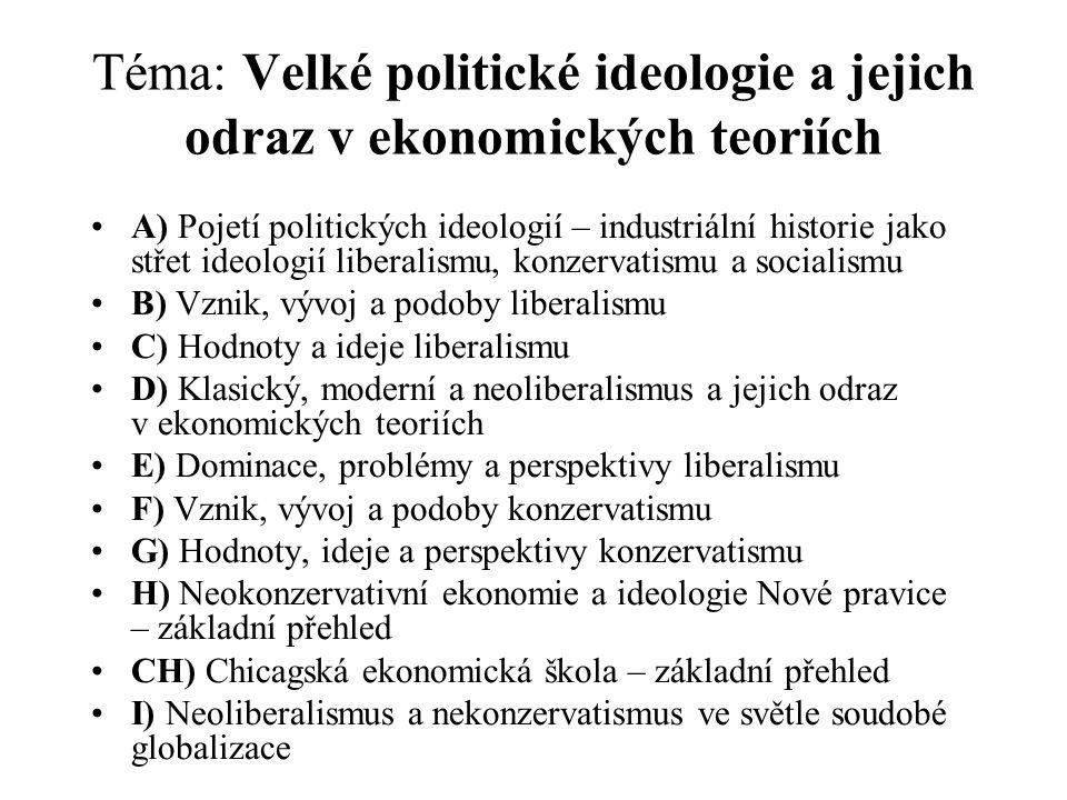 Téma: Velké politické ideologie a jejich odraz v ekonomických teoriích A) Pojetí politických ideologií – industriální historie jako střet ideologií liberalismu, konzervatismu a socialismu B) Vznik, vývoj a podoby liberalismu C) Hodnoty a ideje liberalismu D) Klasický, moderní a neoliberalismus a jejich odraz v ekonomických teoriích E) Dominace, problémy a perspektivy liberalismu F) Vznik, vývoj a podoby konzervatismu G) Hodnoty, ideje a perspektivy konzervatismu H) Neokonzervativní ekonomie a ideologie Nové pravice – základní přehled CH) Chicagská ekonomická škola – základní přehled I) Neoliberalismus a nekonzervatismus ve světle soudobé globalizace