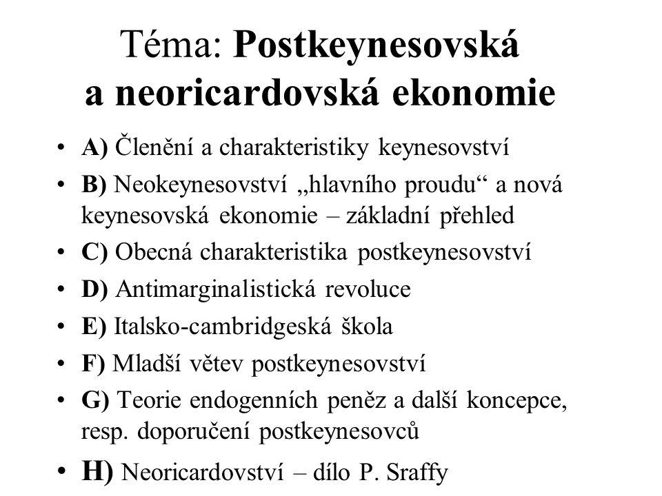 """Téma: Postkeynesovská a neoricardovská ekonomie A) Členění a charakteristiky keynesovství B) Neokeynesovství """"hlavního proudu a nová keynesovská ekonomie – základní přehled C) Obecná charakteristika postkeynesovství D) Antimarginalistická revoluce E) Italsko-cambridgeská škola F) Mladší větev postkeynesovství G) Teorie endogenních peněz a další koncepce, resp."""
