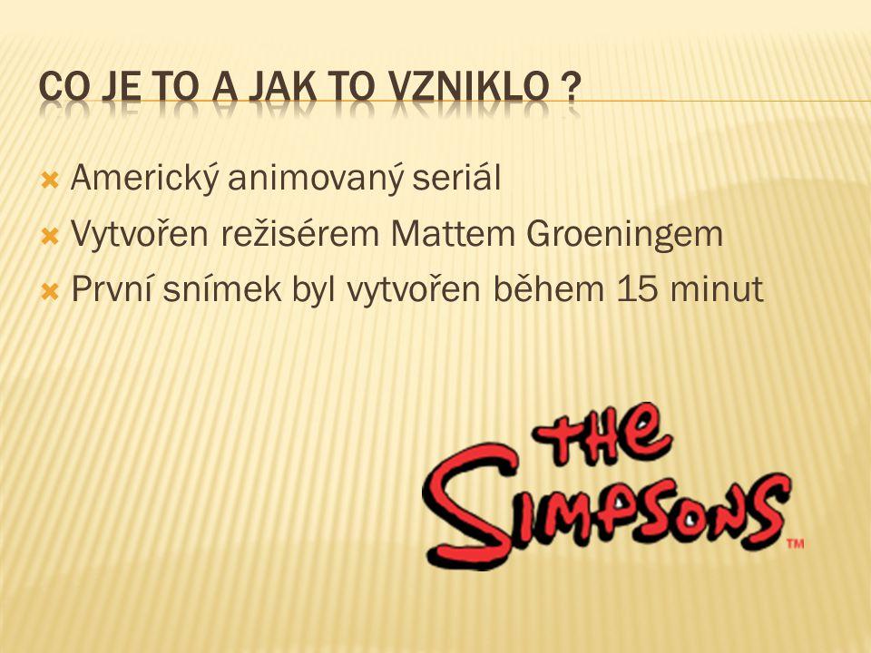  Americký animovaný seriál  Vytvořen režisérem Mattem Groeningem  První snímek byl vytvořen během 15 minut