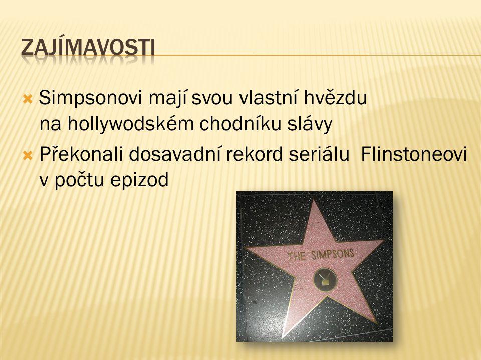  Simpsonovi mají svou vlastní hvězdu na hollywodském chodníku slávy  Překonali dosavadní rekord seriálu Flinstoneovi v počtu epizod