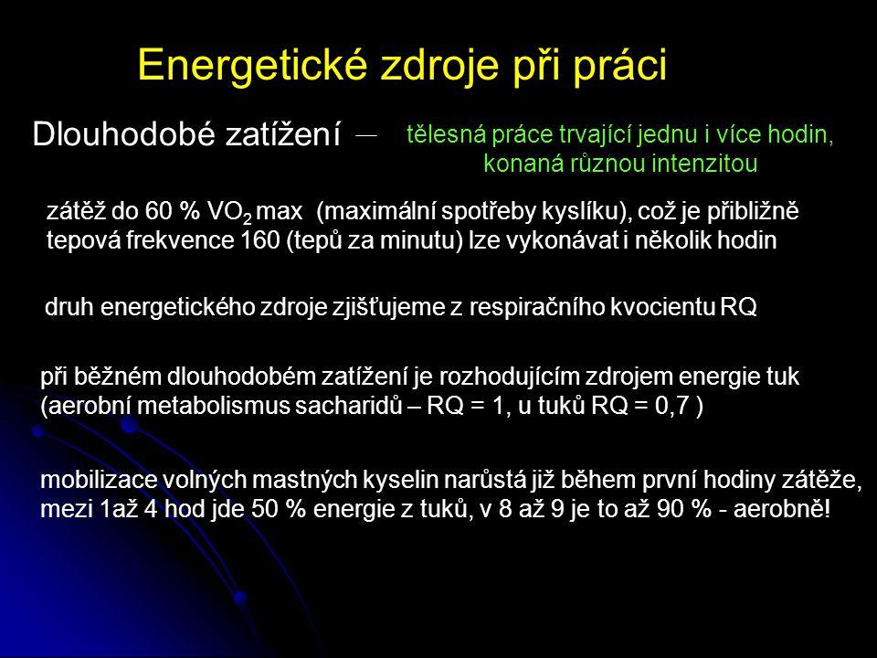 Energetické zdroje v počátcích svalové práce Počátek práce za anaerobních podmínek svalům není dodáván dostatek kyslíku štěpení ATP a CP (kreatinfosfátu) Součastný rozvoj anaerobní glykolýzy Přeměna pyruvátu na laktát umožní další anaerobní glykolýzu Glykolytickou fosforylaci 1.