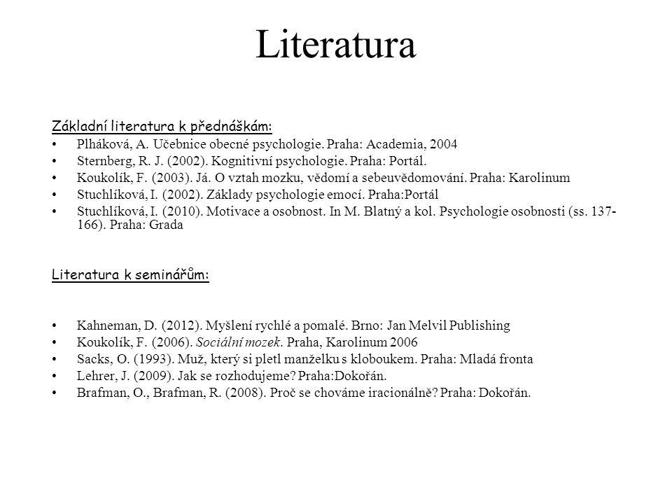 Literatura Základní literatura k přednáškám: Plháková, A. Učebnice obecné psychologie. Praha: Academia, 2004 Sternberg, R. J. (2002). Kognitivní psych