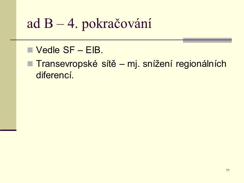 11 ad B – 4. pokračování Vedle SF – EIB. Transevropské sítě – mj. snížení regionálních diferencí.