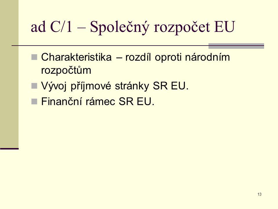 13 ad C/1 – Společný rozpočet EU Charakteristika – rozdíl oproti národním rozpočtům Vývoj příjmové stránky SR EU.