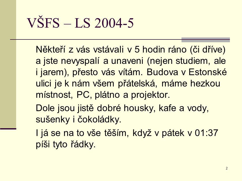 2 VŠFS – LS 2004-5 Někteří z vás vstávali v 5 hodin ráno (či dříve) a jste nevyspalí a unaveni (nejen studiem, ale i jarem), přesto vás vítám.