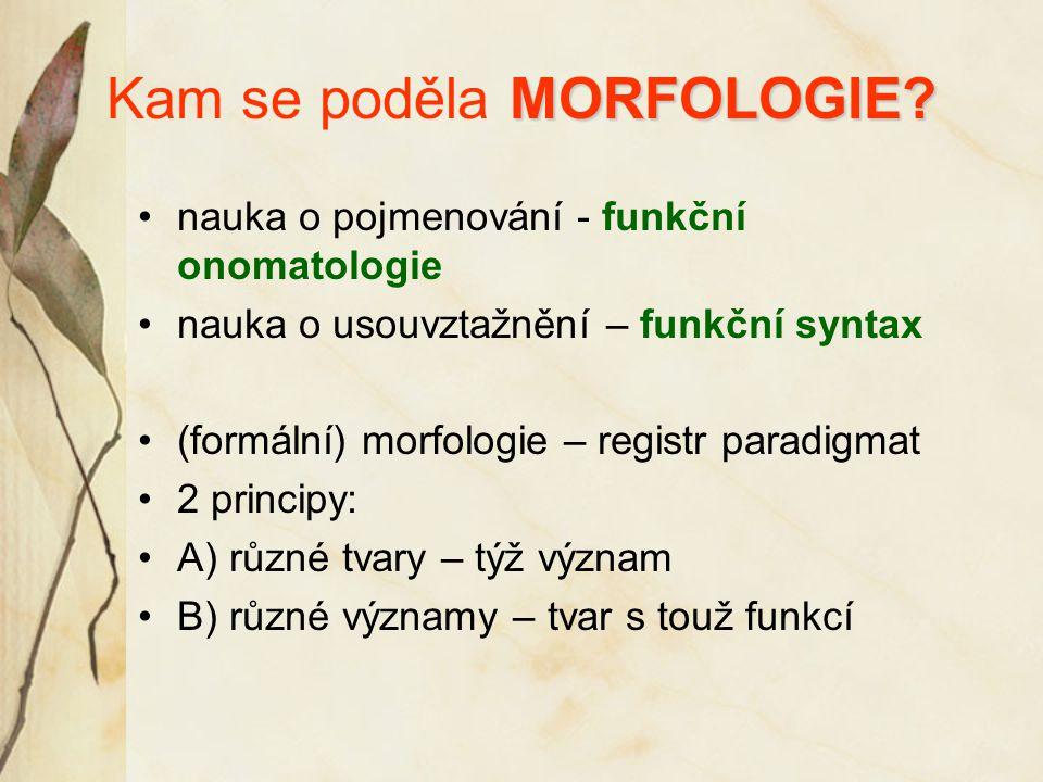 MORFOLOGIE? Kam se poděla MORFOLOGIE? nauka o pojmenování - funkční onomatologie nauka o usouvztažnění – funkční syntax (formální) morfologie – regist