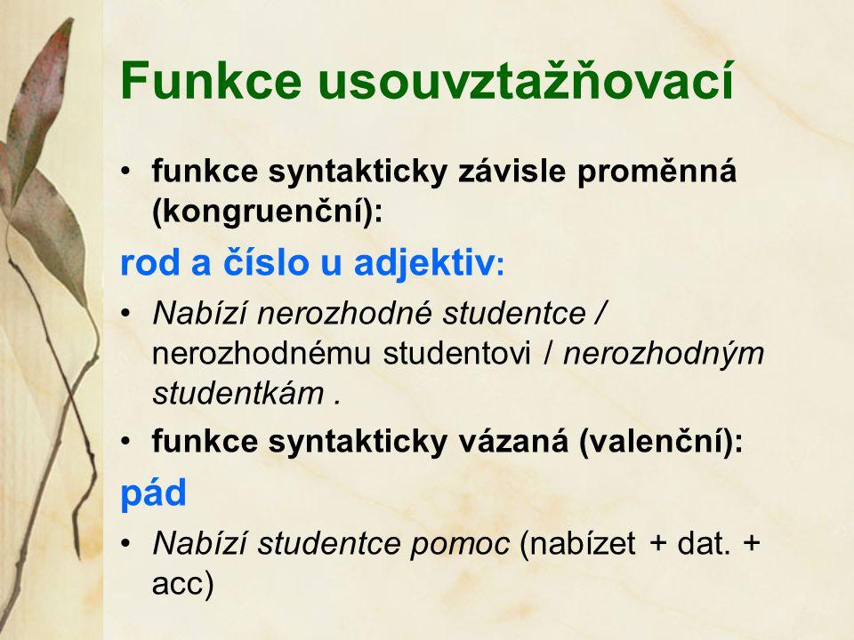 Funkce usouvztažňovací funkce syntakticky závisle proměnná (kongruenční): rod a číslo u adjektiv : Nabízí nerozhodné studentce / nerozhodnému studento