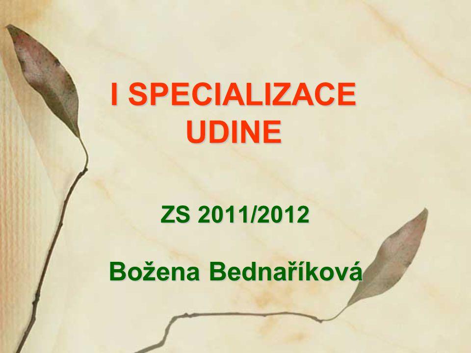 I SPECIALIZACE UDINE ZS 2011/2012 Božena Bednaříková