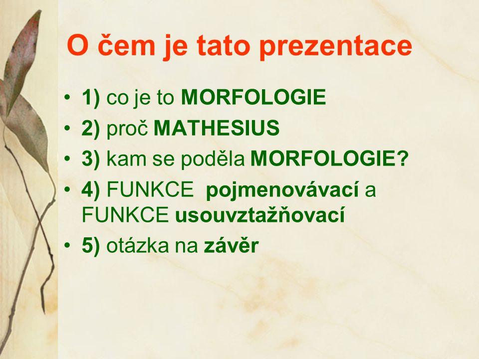 O čem je tato prezentace 1) co je to MORFOLOGIE 2) proč MATHESIUS 3) kam se poděla MORFOLOGIE? 4) FUNKCE pojmenovávací a FUNKCE usouvztažňovací 5) otá