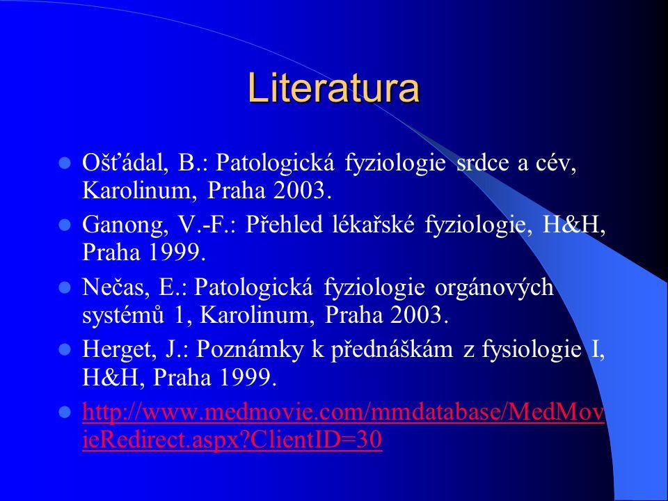 Literatura Ošťádal, B.: Patologická fyziologie srdce a cév, Karolinum, Praha 2003. Ganong, V.-F.: Přehled lékařské fyziologie, H&H, Praha 1999. Nečas,