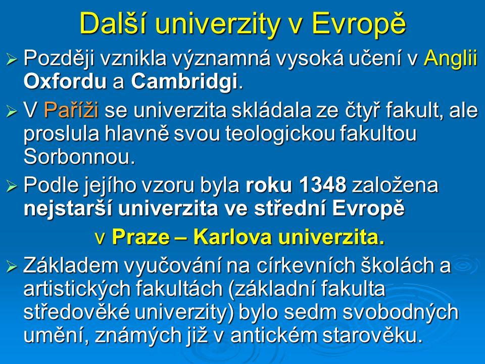 Další univerzity v Evropě  Později vznikla významná vysoká učení v Anglii Oxfordu a Cambridgi.