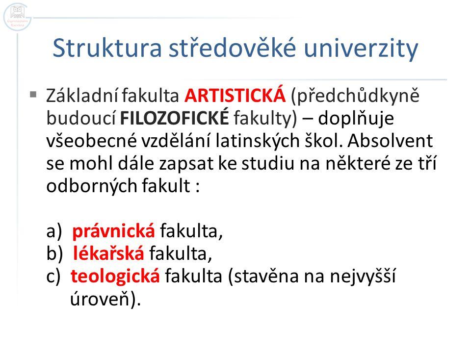 Struktura středověké univerzity  Základní fakulta ARTISTICKÁ (předchůdkyně budoucí FILOZOFICKÉ fakulty) – doplňuje všeobecné vzdělání latinských škol