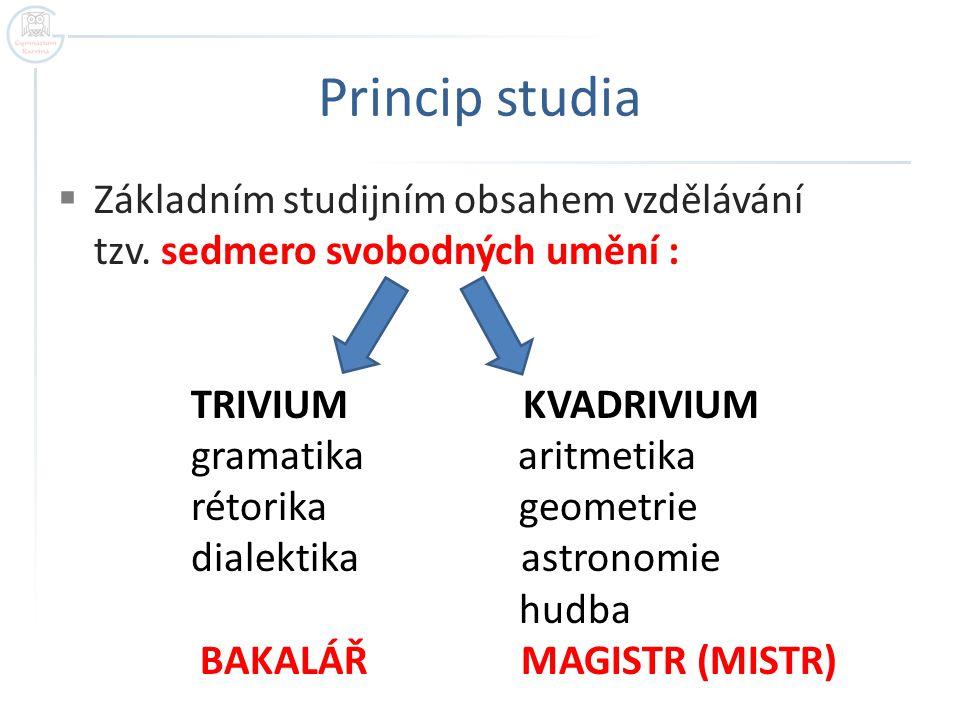 Princip studia  Základním studijním obsahem vzdělávání tzv. sedmero svobodných umění : TRIVIUM KVADRIVIUM gramatika aritmetika rétorika geometrie dia