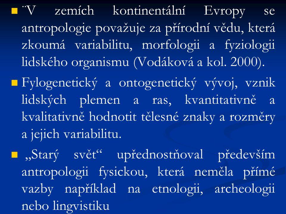 ¨V zemích kontinentální Evropy se antropologie považuje za přírodní vědu, která zkoumá variabilitu, morfologii a fyziologii lidského organismu (Vodáko