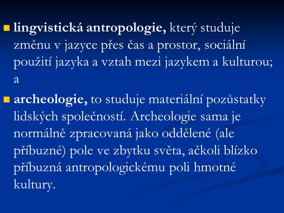 lingvistická antropologie, který studuje změnu v jazyce přes čas a prostor, sociální použití jazyka a vztah mezi jazykem a kulturou; a archeologie, to