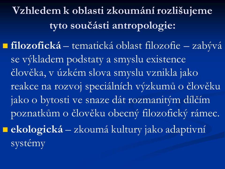 Vzhledem k oblasti zkoumání rozlišujeme tyto součásti antropologie: filozofická – tematická oblast filozofie – zabývá se výkladem podstaty a smyslu ex