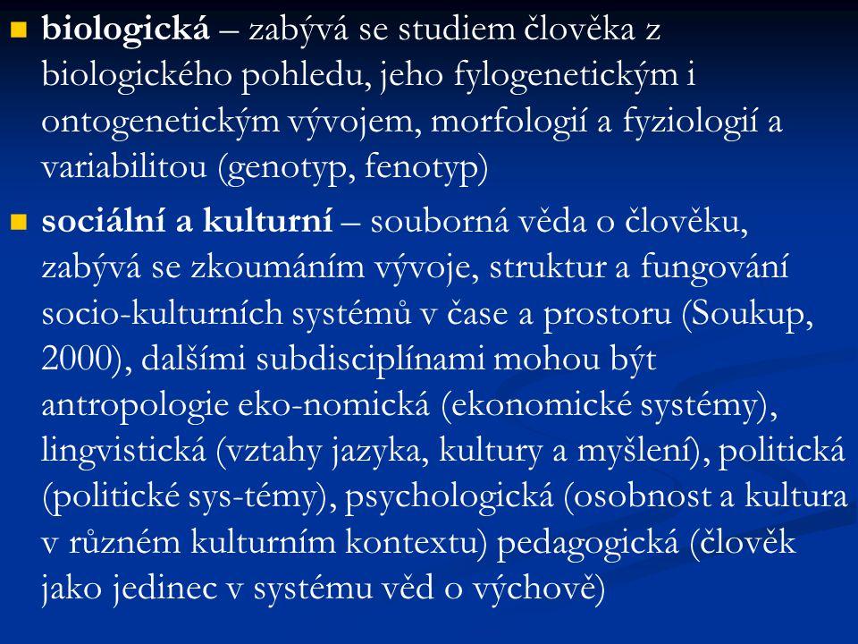 biologická – zabývá se studiem člověka z biologického pohledu, jeho fylogenetickým i ontogenetickým vývojem, morfologií a fyziologií a variabilitou (g