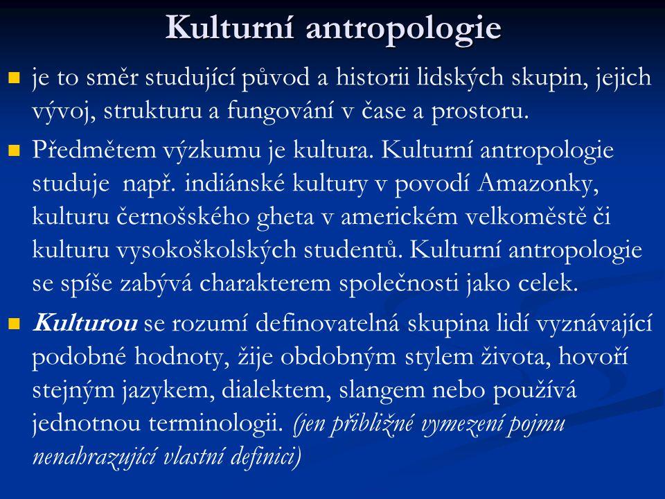 Kulturní antropologie je to směr studující původ a historii lidských skupin, jejich vývoj, strukturu a fungování v čase a prostoru. Předmětem výzkumu