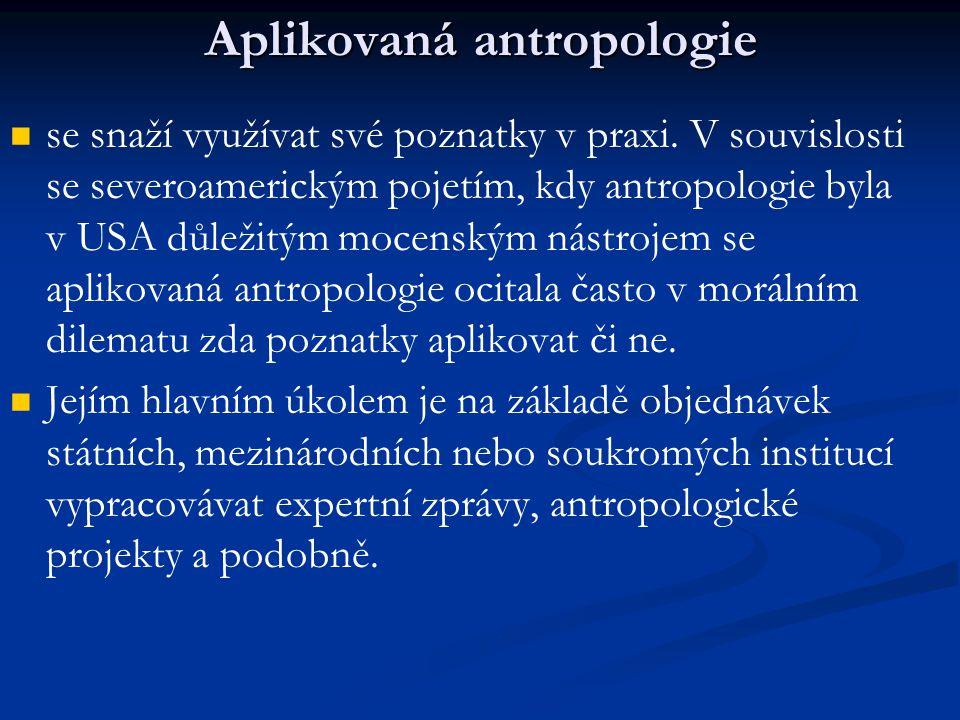 Aplikovaná antropologie se snaží využívat své poznatky v praxi. V souvislosti se severoamerickým pojetím, kdy antropologie byla v USA důležitým mocens