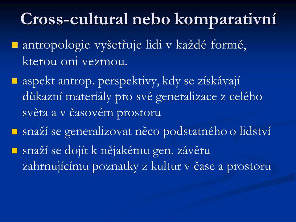Cross-cultural nebo komparativní antropologie vyšetřuje lidi v každé formě, kterou oni vezmou. aspekt antrop. perspektivy, kdy se získávají důkazní ma