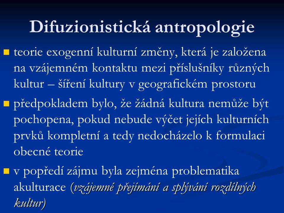 Difuzionistická antropologie teorie exogenní kulturní změny, která je založena na vzájemném kontaktu mezi příslušníky různých kultur – šíření kultury