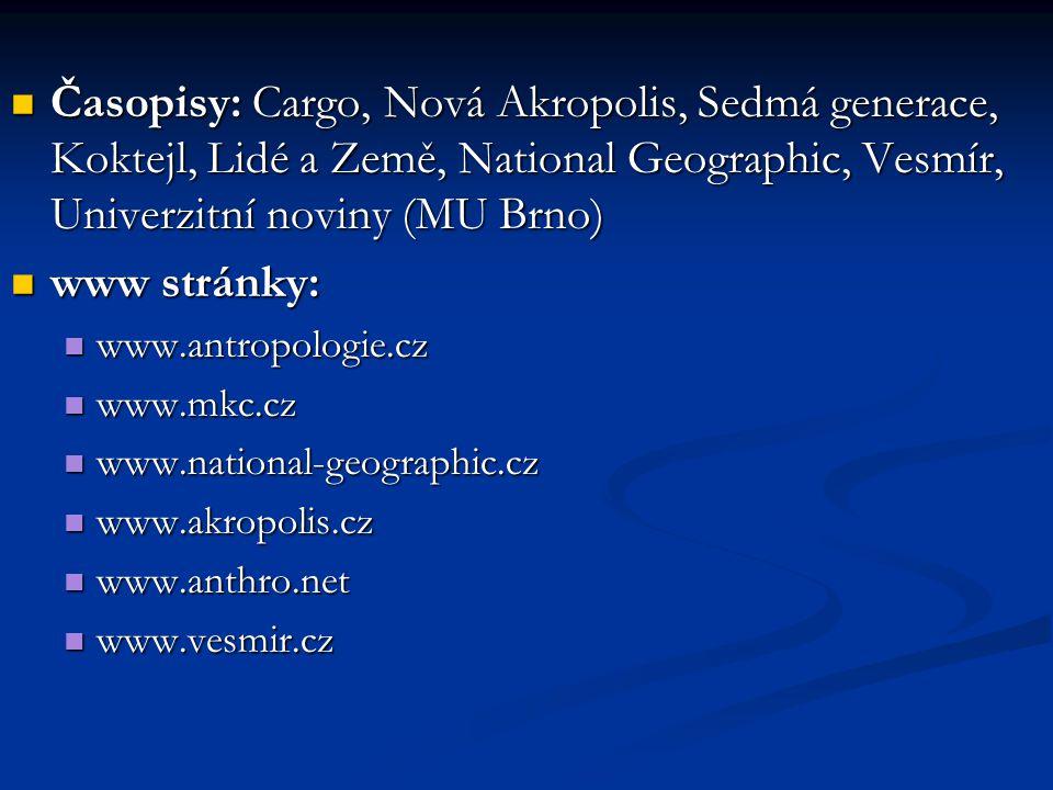 Časopisy: Cargo, Nová Akropolis, Sedmá generace, Koktejl, Lidé a Země, National Geographic, Vesmír, Univerzitní noviny (MU Brno) Časopisy: Cargo, Nová
