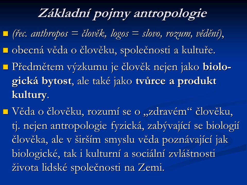 V poslední době je antropologie chápána též jako soubor věd o člověku, zahrnující antropologii obecnou, biologickou, kulturní, sociální, užitou, dále etno-logii a etnografii, částečně i psychologii aj.